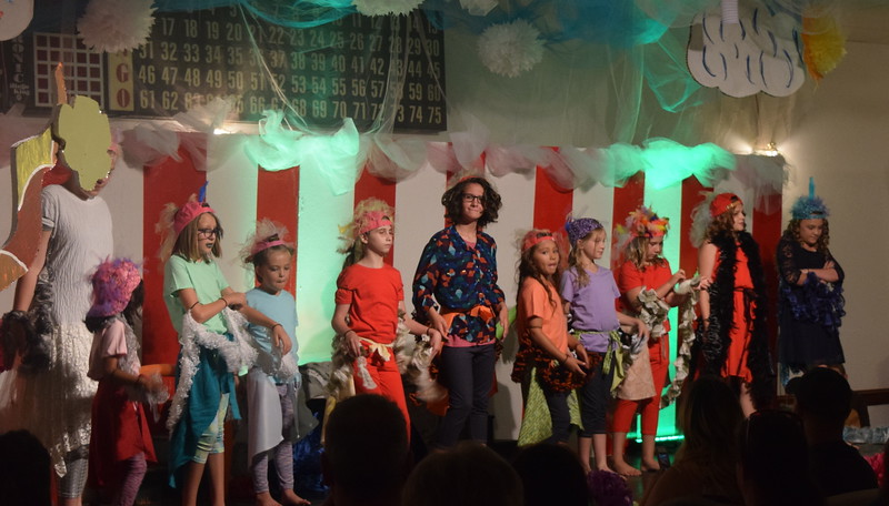 """Gertrude McFuzz (Grace Graham) meets Mayzie (Mikayla Von Steinman) and her Bird Girls (Amelia Hupke, Amelia Rios, Paiten Paige, Gabby Manly, Keira Milton, Taylor Cranwell, Zaly Bleach and Karly McKinny) in a scene from Sterling Miracle Players Kids Camp's produciton of """"Seussical Jr."""" Saturday, July 22, 2017."""