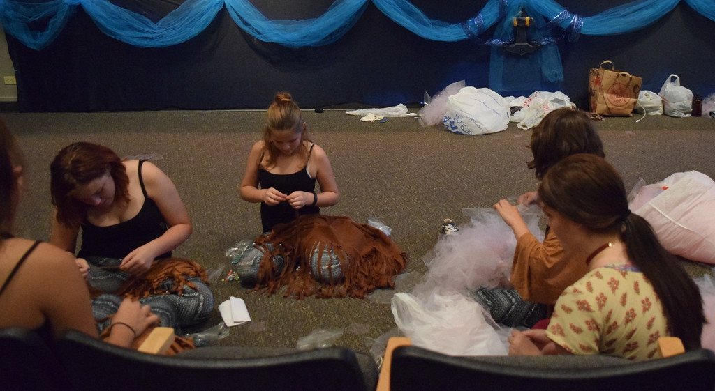 ". Sterling Miracle Players cast members were hard at work on costumes for the theater group\'s production of ""Peter Pan\"" during a rehearsal Monday, Sept. 11, 2017."