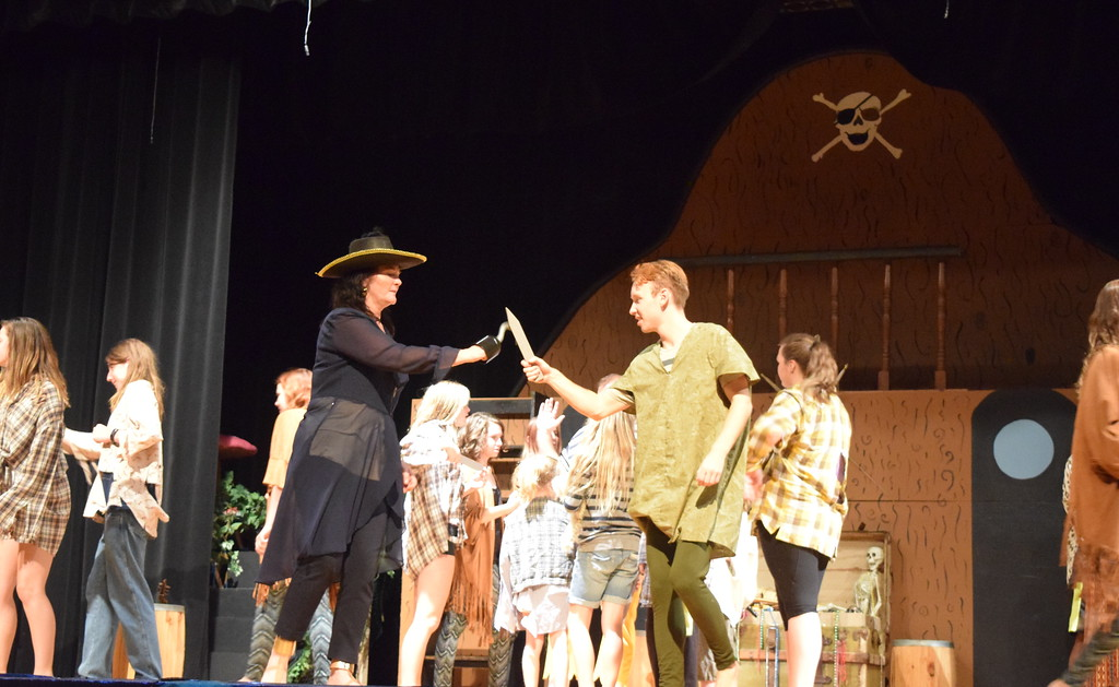 ". Peter Pan (Scott Glissmann) faces off against the villainous Captain Crook (EJ Wright) in a scene from Sterling Miracle Players\' upcoming production of ""Peter Pan.\"""