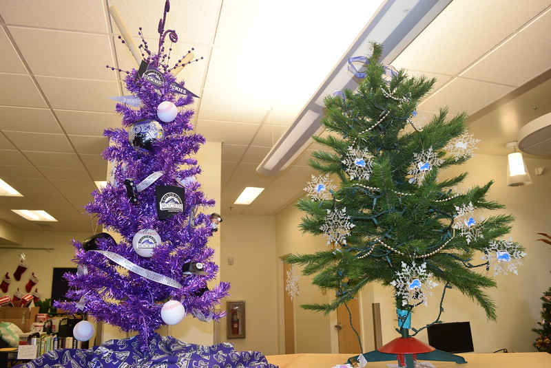Colorado Rockies, and a Detroit Lions tree decorated by Scott Ketchum