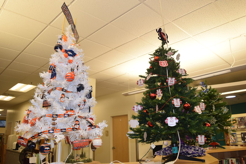 There are a number of sports themed trees in Sterling Public Library's Parade of trees, including a Denver Broncos tree and a Detroit Red Wings tree.