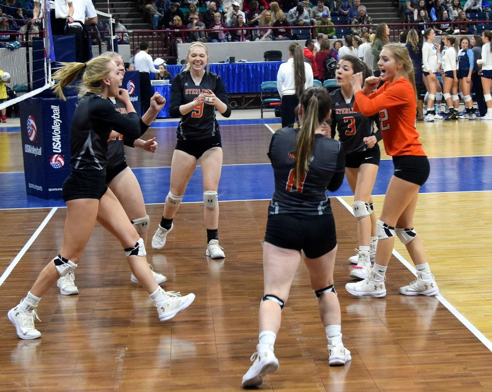 The Sterling Tigers react to a crucial score in pool play on Saturday at the Denver Coliseum.