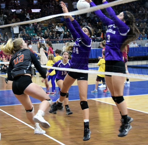 Hannah Fleckenstein scores a kill over outstretched Lutheran defenders.