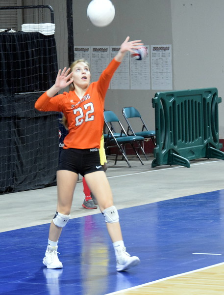 Jade Feather goes back for a serve in the Tigers game on Friday at the Denver Coliseum.