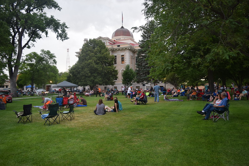 A crowd gathered at the Logan County Courthouse to listen to the music of the Wendy Woo Band at Transwest Concerts on the Green...July Jamz Friday, July 8, 2016.