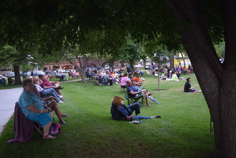 A crowd enjoys the music of The Wendy Woo Band at July Jamz Friday, July 8, 2016. The concert was briefly interupted by a thunderstorm, but that didn't stop people from coming out to enjoy the music.