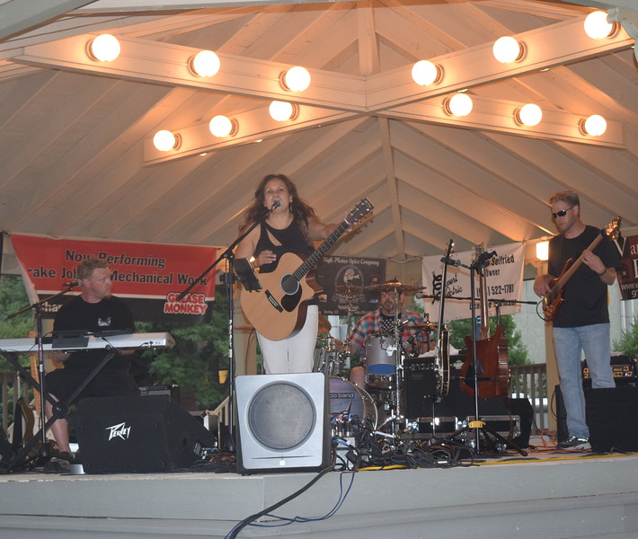 The Wendy Woo Band, a poly-ethnic pop rock band, performs at the second Traswest Concerts on the Green...July Jamz concert Friday, July 8, 2016.