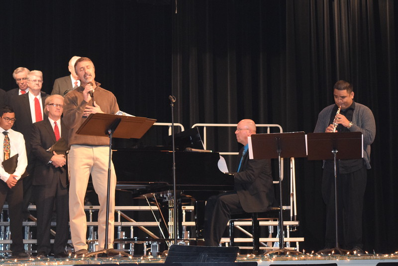 "Jim Yahn performs a solo, ""Welcome to Our World,"" accompanied by Darren Luft, piano, and Ryan Rosete, oboe, during Centennial State Chorus, Windsong Chorus and Special Friends' ""Sing Noel at Christmas"" benefit concert, Sunday, Dec. 4, 2016."