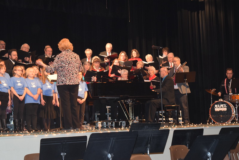"""Windsong Chorus, Centennial State Chorus and the RE-1 Valley Children's Chorale perform """"Sing Noel,"""" under the direction of Annette Lambrecht, during the choruses """"Sing Noel at Christmas"""" benefit concert Sunday, Dec. 4, 2016."""
