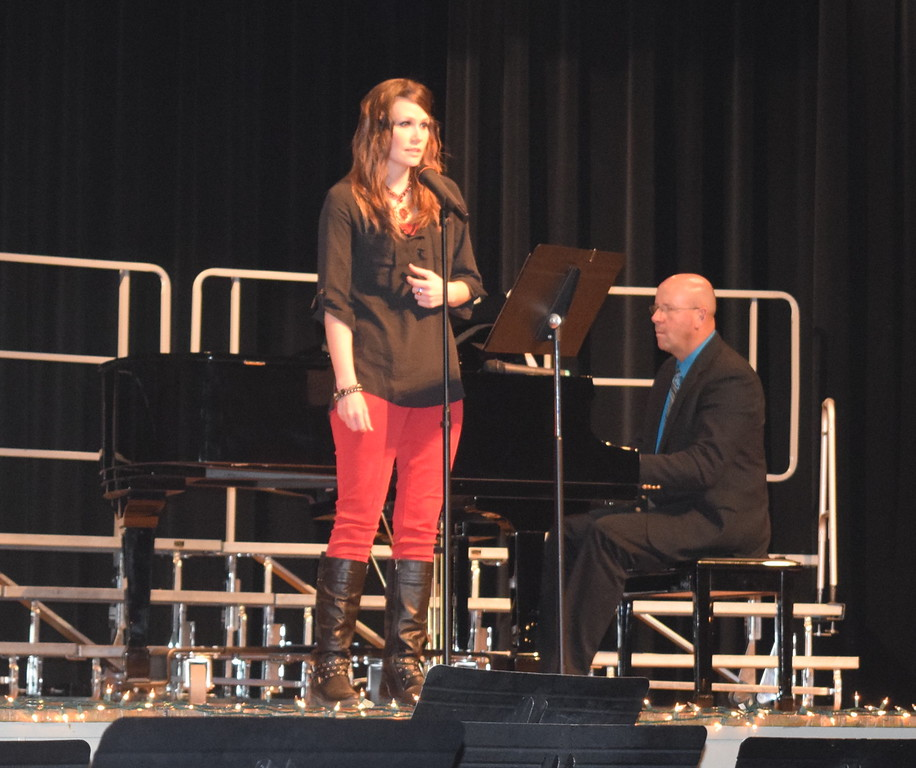 "Jaci Mathis performs a vocal solo, ""Christmas Is,"" accompanied by Darren Luft, during Windsong Chorus, Centennial State Chorus and special friends' ""Sing Noel at Christmas"" benefit concert, Sunday, Dec. 4, 2016."