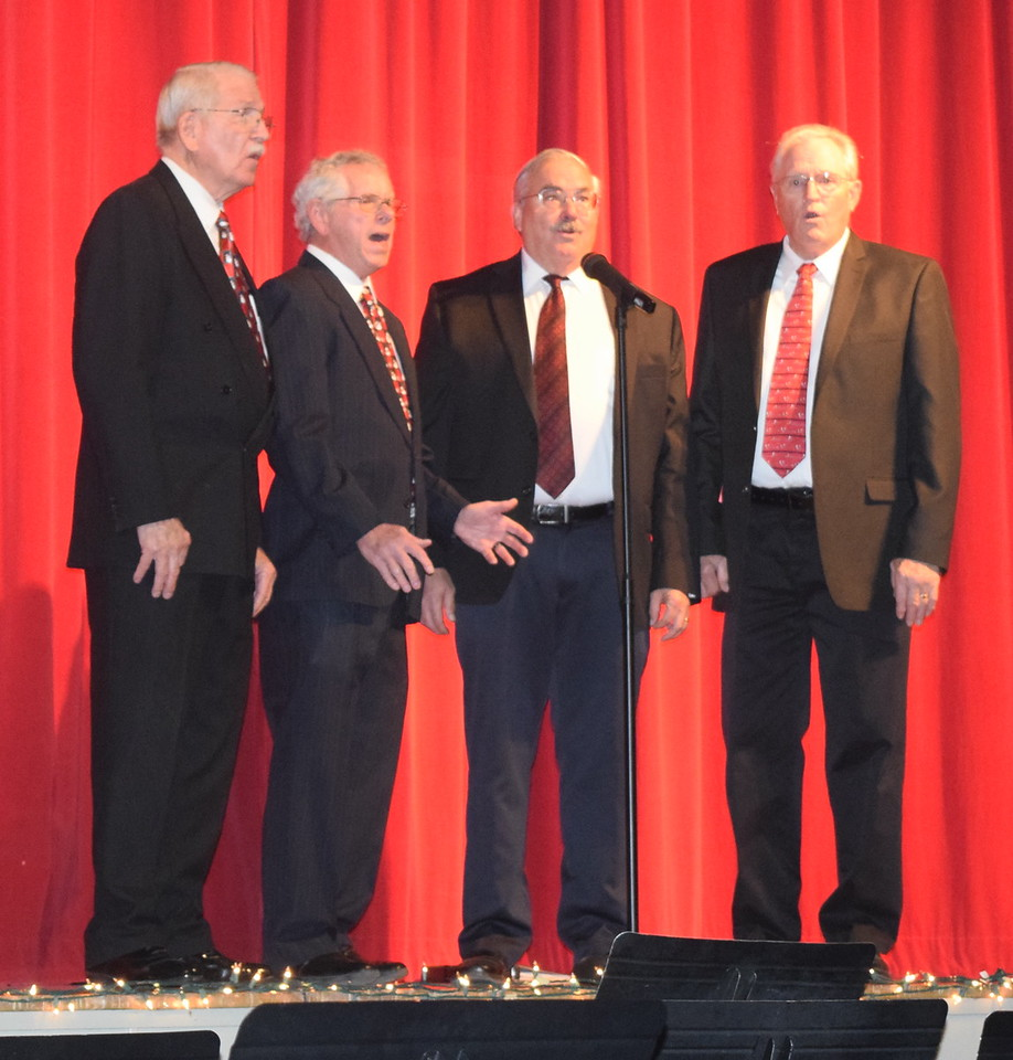 "Without a Clue Quartet performs ""Mary Had a Baby"" during Centennial State Chorus and Windsong Chorus' ""Sing Noel at Christmas"" benefit concert Sunday, Dec. 4, 2016. From left; Curt Kimball, Ed Lininger, Vic Wisdom and Gary Brott."