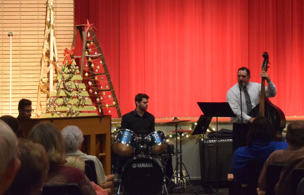 ". Northeastern Junior College\'s new Combo band, made up of Cory Cordie on piano, Ryan Kelso on drums and Mike Boyce on bass, perform at Windsong and Centennial State Choruses ""Christmas Celebration!\"" concert Sunday, Dec. 3, 2017."