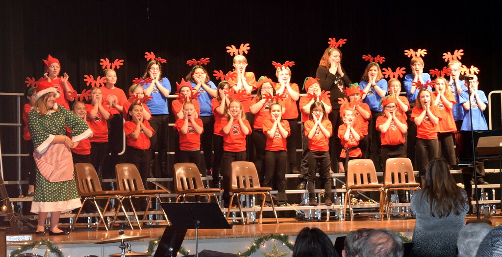 """. The RE-1 Valley Children\'s Chorale performs \""""Mrs. Claus,\"""" under the direction of Annette Lambrecht and Dana May, at Windsong and Centennial State Choruses \""""Christmas Celebration!\"""" concert Sunday, Dec. 3, 2017."""
