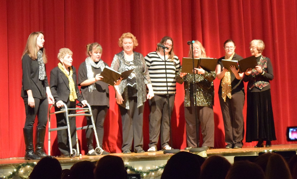 """. A Double Quartet, with Sheryl Brunner, Madison Trahern, Annette Lambrecht, Alexis Tait, Mary Ann Anderson, Dakota Schneider, Judy Kimball and Darrian Tait, perform \""""Have Yourself a Merry Little Christmas\"""" Sunday, Dec. 3, 2017, at WIndsong and Centennial State Choruses \""""Christmas Celebration!\"""" concert."""