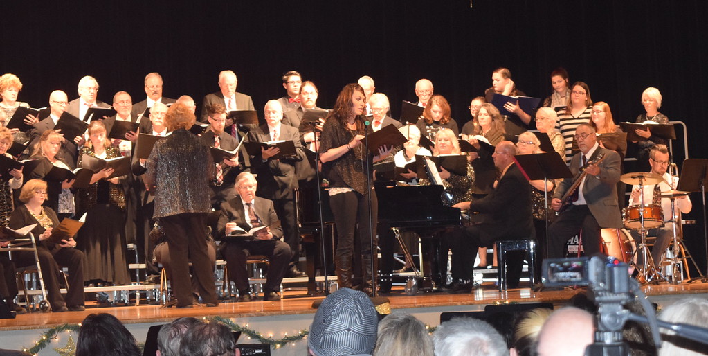 """. Jaci Yula sings a solo during Windsong and Centennial State Choruses performance of \""""Sending You a Little Christmas\"""" at their \""""Christmas Celebration!\"""" Sunday, Dec. 3, 2017."""