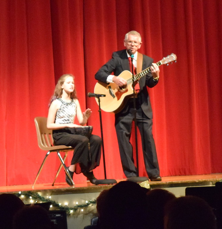 """. Ed Lininger and granddaughter Audrey perform a \""""Christmas Medley\"""" at Windsong and Centennial State Choruses \""""Christmas Celebration!\"""" concert Sunday, Dec. 3, 2017."""