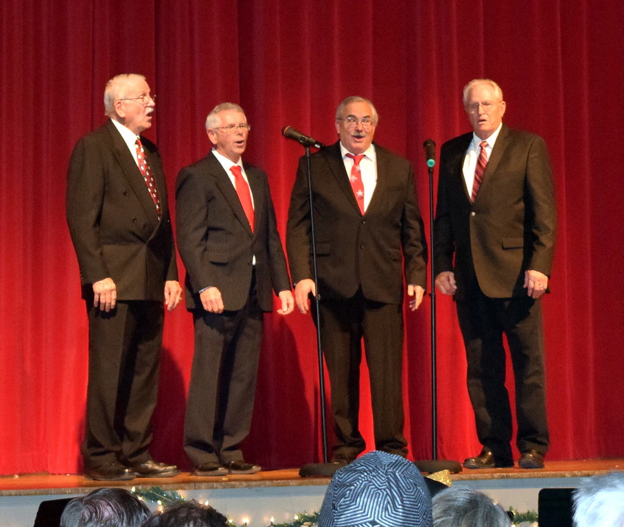 ". Without a Clue Quartet, Dr. Curtis Kimball, Ed Lininger, Gary Brott and Vic Wisdom, perform ""Pine Cones and Holly Berries\"" at Windsong and Centennial State Choruses \""Christmas Celebration!\"" concert Sunday, Dec. 3, 2017."