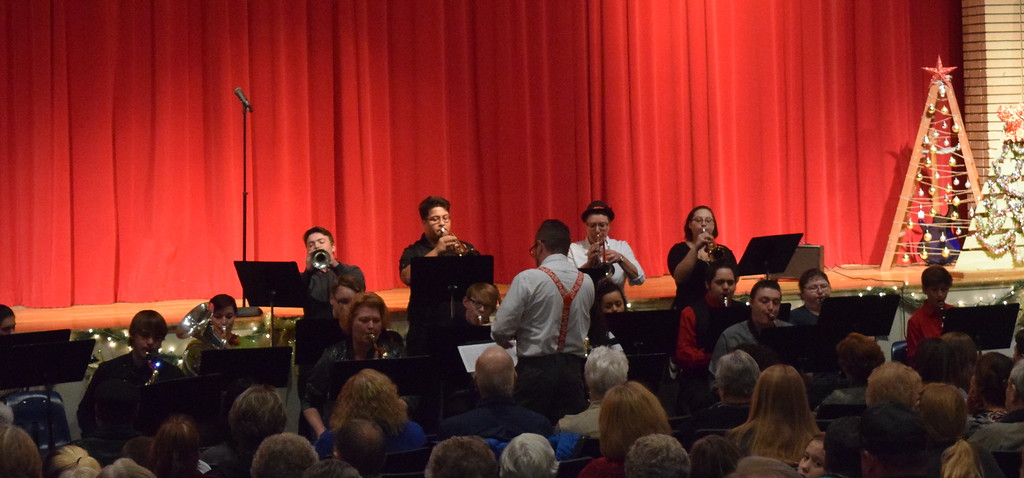 """. The Northeastern Junior College Jazz Band, under the direction of Lee Lippstrew, entertains the crowd Sunday, Dec. 3, 2017, before the start of the \""""Christmas Celebration!\"""" concert presented by Windsong Chorus, Centennial State Chorus and special friends."""