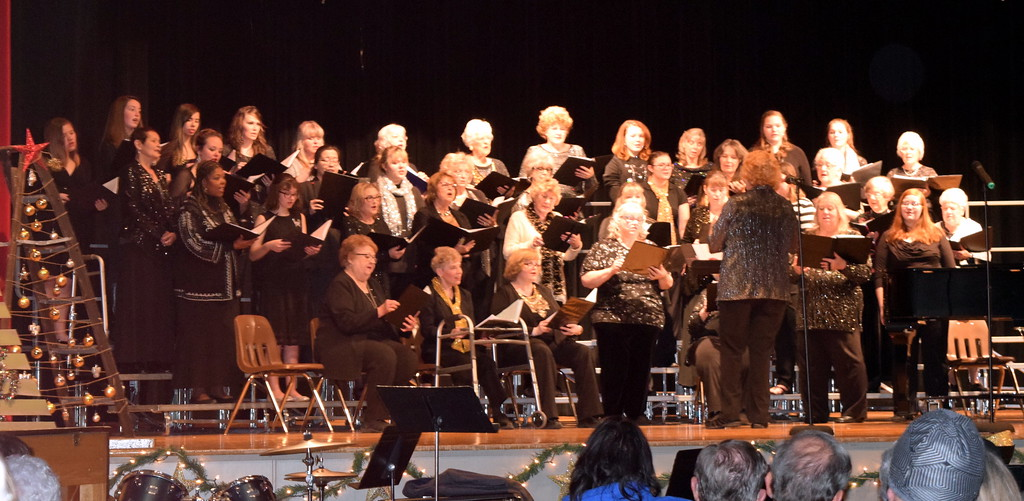 """. Windsong Chorus performs \""""Silver Bells,\"""" under the direction of Annette Lambrecht,\"""" at their \""""Christmas Celebration!\' concert Sunday, Dec. 3, 2017."""