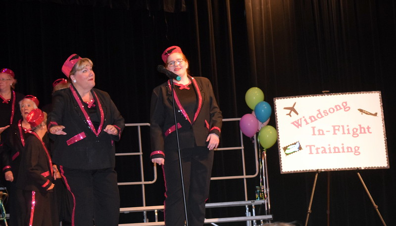 Windsong Chorus members Earleen Friedly and Darcy Trump give a few tips for Wndsong In-Flight Training during the chorus' Barbershop Festival and Show Saturday, June 10, 2017.