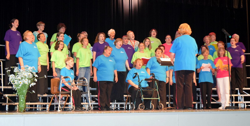 "Windsong Chorus and guests perform ""All I Have to do is Dream,"" under the direction of Annette Lambrecht, at the chorus' fourth annual Barbershop Festival and Show Saturday, June 10, 2017, at Sterling High School. Approximately 16 guests joined Windsong for this year's festival, where they spent about four hours learning about barbershop singing from the Free Fallin' Quartet and Windsong member Ce Merrigan."