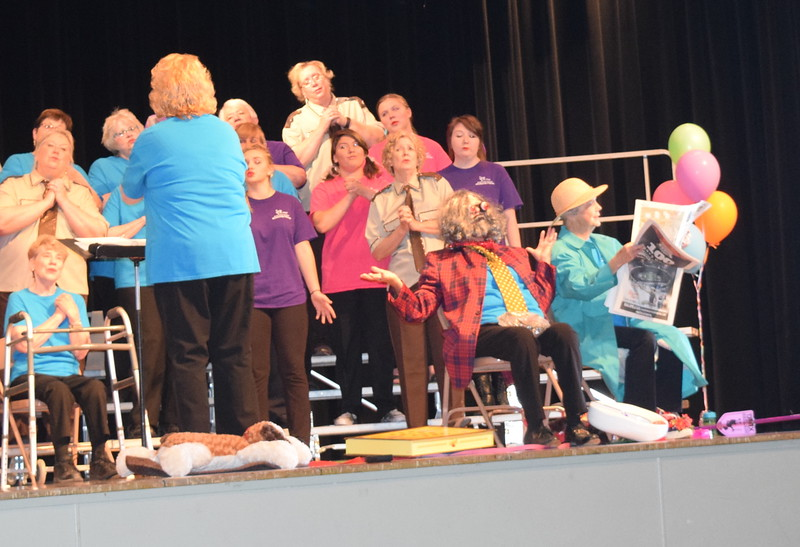 "Windsong Chorus members perform ""Little Old Lady in Tennis Shoes"" during the chorus' third annual Barbershop Festival and Show Saturday, June 4, 2016."