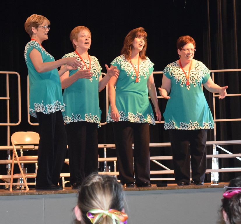 Special guests at Windsong Chorus' third annual Barbershop Festival and Show were Free Fallin' Quartet - Suzi Johnson, Laura Schaefer, Robin Petrovich and Andrea Hass - the current Sweet Adelines Region 8 second place quartet. They not only performed in the show, but also helped teach barbershop singing skills during the festival.