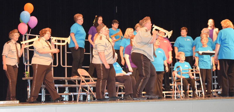 "Windsong Chorus members perform ""Boogie Woogie Bugle Boy"" at the chorus' third annual Barbershop Festival and Show Saturday, June 4, 2016."