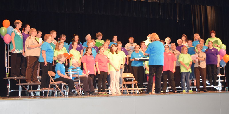 "Windsong Chorus and guests perform ""You Raise Me Up"" at the chorus' third annual Barbershop Festival and Show Saturday, June 4, 2016.  Approximately 12 guests participated in this year's festival, where they built friendships, learned vocal and singing techniques, gained musical knowledge and showed off their barbershop harmony skills in a performance."