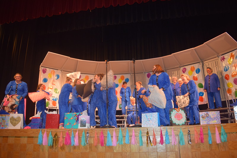 """It's just not a pajama party without a pillow fight, as the Windsong Chorus demonstrated during their fall show, """"Pajama-Rama: The Ultimate Birthday Party!,"""" Sunday, Oct. 16, 2016."""