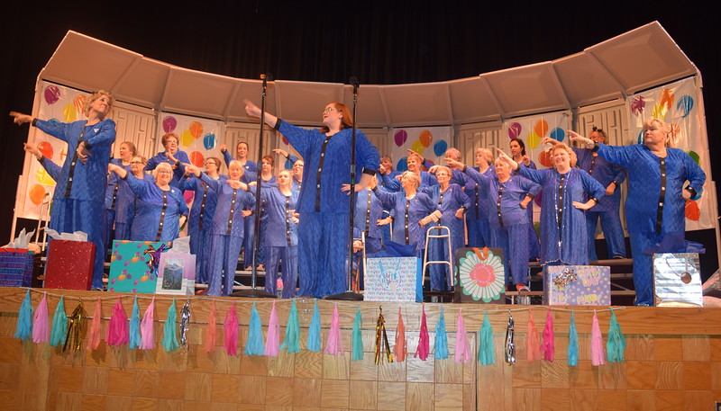 """Windsong Chorus members get some exercise in during their fall show, """"Pajama-Rama: The Ultimate Birthday Party!,"""" Sunday, Oct. 16, 2016. The show, which was dedicated to Rachel Guernsey, celebrated Windsong's 45th year as part of Sweet Adelines International."""