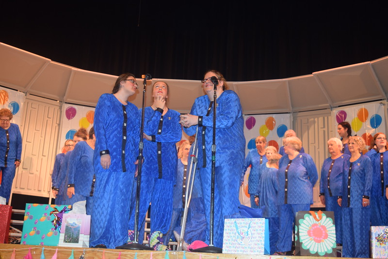 "Some of the younger Windsong Chorus members, Alexis Tait, Madison Trahern and Dakota Schneider, share some jokes during the chorus' fall show, ""Pajama-Rama: The Ultimate Birthday Party!,"" Sunday, Oct. 16, 2016."