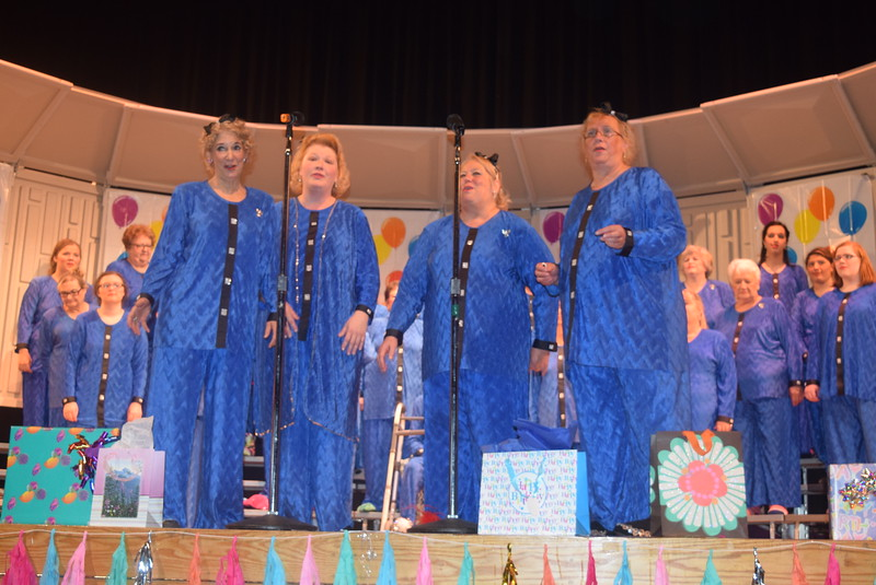 "The Smile! Quartet – Ce Merrigan, Annette Lambrecht, Mary Ann Anderson and Chris Wolf – performs during Windsong Chorus's fall show, ""Pajama-Rama: The Ultimate Birthday Party!,"" Sunday, Oct. 16, 2016."