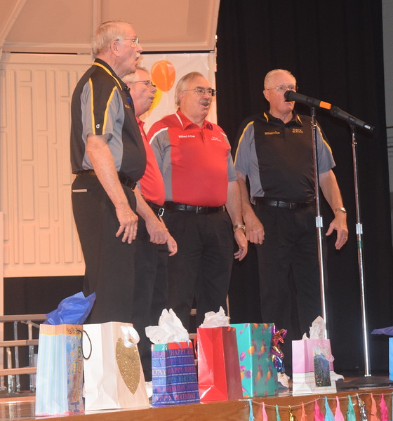 """The Without a Clue Quartet – Dr. Curt Kimball, Ed Lininger, Vic Wisdom and Gary Brott – was one of several quartets that performed during Windsong's """"Pajama-Rama"""" fall show Sunday, Oct. 16, 2016."""