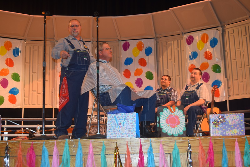 "The Equally Delinquent Quartet – Steve Schwartzkoph, Dan Kafka, Maury Kramer and Chris Garcia – tell the backwords story of ""Cinderella,' in a barbershop setting, during the Windsong Chorus' fall show ""Pajama Rama: The Ultimate Birthday Party!,"" Sunday, Oct. 16, 2016."