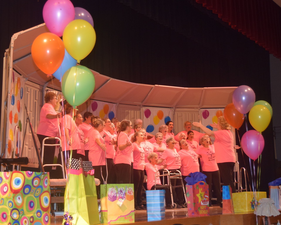 "Windsong Chorus performs ""When the Red, Red Robin Goes Bob, Bob Bobbin' Along,"" under the direction of Annette Lambrecht, during their fall show, ""Pajama Rama: The Ultimate Birthday Party!,"" Sunday, Oct. 16, 2016."