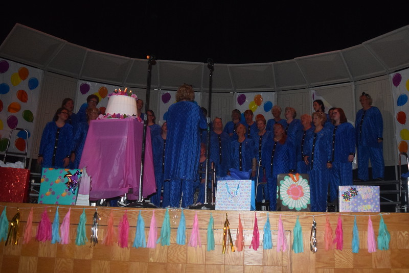"The Windsong Chorus performs ""Happy Birthday"" during their fall show, ""Pajama-Rama: The Ultimate Birthday Party!,"" Sunday, Oct. 16, 2016. The show celebrated the chorus' 45th year as a part of Sweet Adelines International."