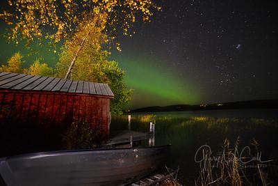 Aurora Borealis, Vilhelmina lake. 65º Northern Sweden