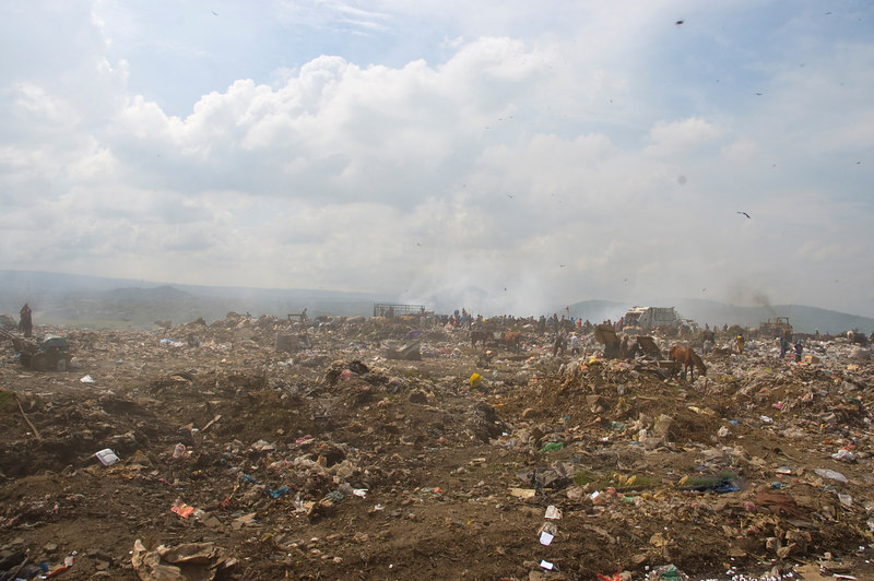 """Nicaragua Mission November 2006<br /> La Chureca """"The Dump""""<br /> This is a view of where the garbage is being dumped.  We could see people pushing and shoving to get an upper hand on access to the garbage."""