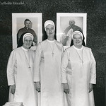 Sr. James Patrice, I.H.M. (center), was the newly appointed mother superior of St. Thomas More Convent in August 1987. She is flanked by Sr. Marie Aileen, I.H.M. (left), diocesan archivist, and Sr. Richard Mary, I.H.M., fifth grade teacher at the cathedral school.