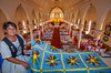 A quilt expol at the Catholic Church in Saulnierville, an event that is part of the annual Clare Acadien Festival