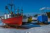 Fishing boats hauled up for the winter at Bay St. Lawrence, a fishing village in northern Cape Breton Island