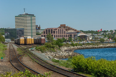 The rail yards on the Dartmouth waterfront with Alderney Gate and the ferry terminal in the background