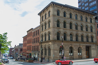 Historic buildings at the corner of Hollis and Prince Streets in downtown Halifax. In one of these buildings facing on Prince Street, Joseph Howe published the first newspaper in Canada. See Downtown_Halifax.gpx track for exact GPS locations of photos