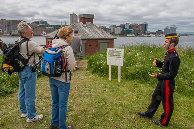 A collection of photos of an open house at George's Island, a national historic site located in Halifax harbour. The photos show the trip to and from the island via ferry; Fort Charlotte and its tunnel network, and visitors enjoying their visit to the island which is not normally open to visitors.