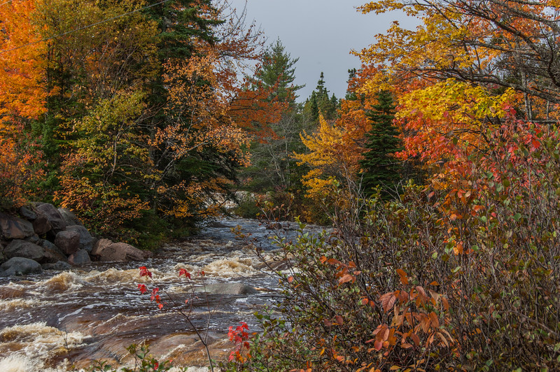 Autumn scenery on a river along the Cabot Trail between Ingonish and Neil's Harbour