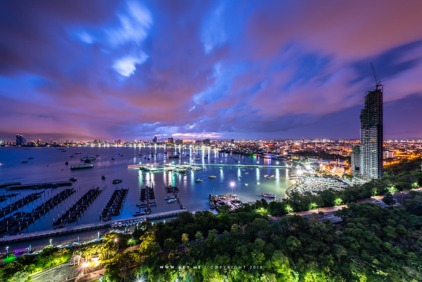 A Rainy Morning at Bali Hai Pier, Pattaya Bay, Chonburi