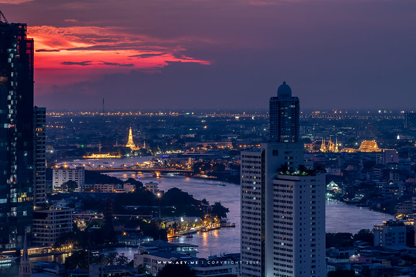 Cityscape of Bangkok view from Yao Rooftop Bar