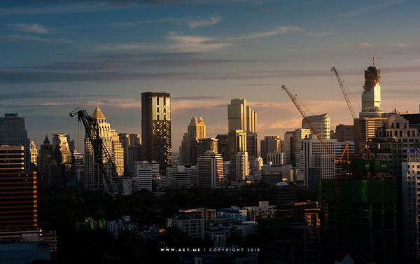 Skyline of Sathorn view from the Okura Prestige Bangkok