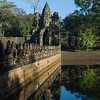 Statues at South Gate Bridge and gateway Angkor Thom, Krong Siem Reap, Siem Reap, Cambodia